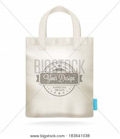 Natural white canvas mock up shopping bag template for corporate identity design realistic closeup image vector illustration