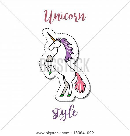 Fashion patch element with quote, Unicorn style. Vector illustration