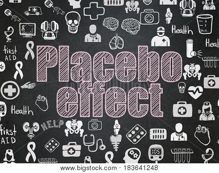 Health concept: Chalk Pink text Placebo Effect on School board background with  Hand Drawn Medicine Icons, School Board