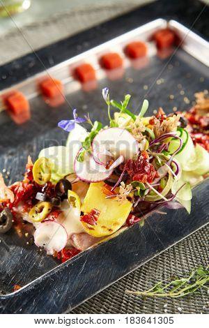 Restaurant Food - Luxury Nicoise Salad. Gourmet French Restaurant Salad