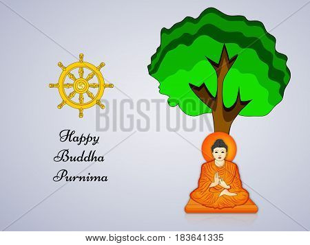 Illustration of Lord Buddha sitting under green tree with Happy Buddha Purnima text