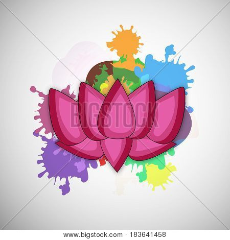 illustration of Lotus flower in color splash for Buddha Purnima