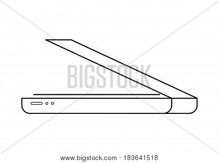 Scanner line art, simple gadget icon for web application, outline vector pictogram isolated on a white background, modern home and office device for making images