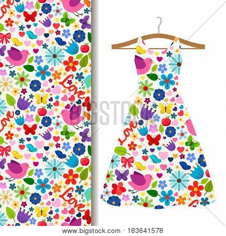 Women dress fabric pattern design on a hanger with cute spring love pattern with colorful flowers and butterfies. Vector illustration