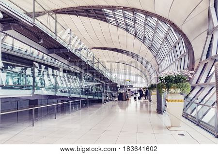 BANGKOK THAILAND - MARCH 7 2017 walkway for passengers boarding walkway in airport.