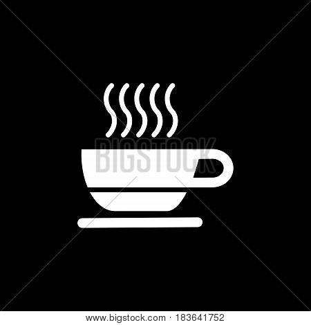 cup of coffee tea hot drink white vector icon on black background icon. Eps 10