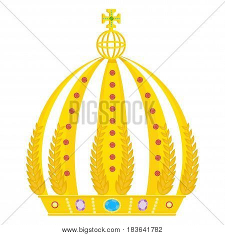 Gold royal crown. Flat vector cartoon illustration. Objects isolated on a white background.