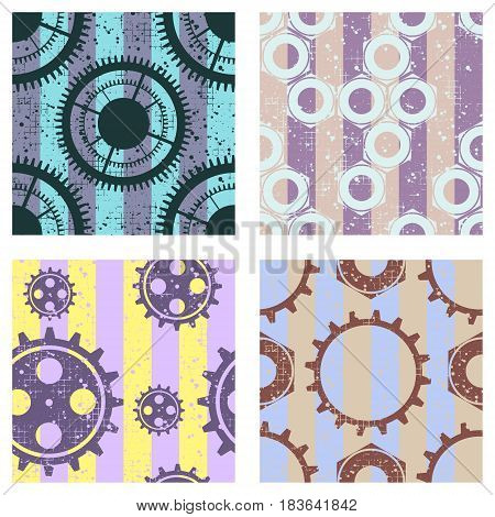 Set Of Vector Seamless Patterns With Mechanism Of Watch, Metal Parts, Screw Nuts. Creative Geometric