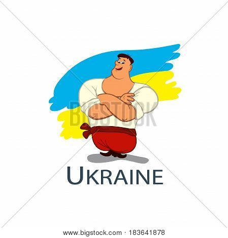 Vector Cossack in flat style, colorful Cartoon illustration. Cossack man, against the background of the national flag. Ukrainian hero
