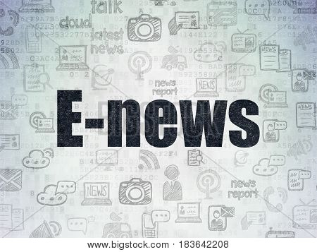 News concept: Painted black text E-news on Digital Data Paper background with   Hand Drawn News Icons