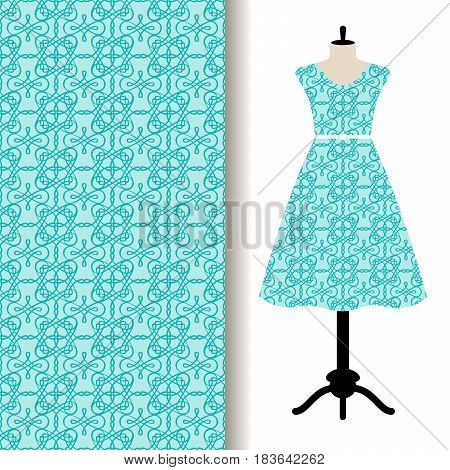 Women dress fabric pattern design on a mannequin with abstract blue pattern. Vector illustration