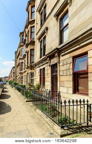 A sandstone residential building in White Street off Byers Road in the West End of Glasgow.