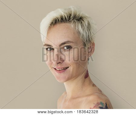 Blonde Caucasian Woman in Studio Shoot