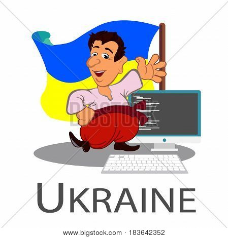 Programmer icon in cartoon style isolated on white background. A cheerful character. Ukrainian hero. vector illustration.