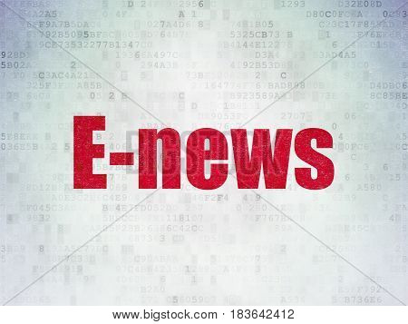 News concept: Painted red word E-news on Digital Data Paper background