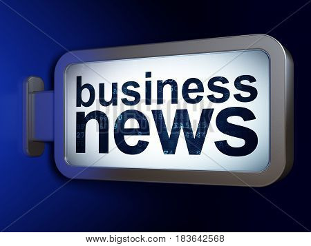 News concept: Business News on advertising billboard background, 3D rendering