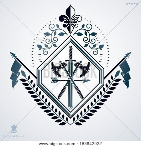 Heraldic Sign Made Using Vector Vintage Elements, Laurel Leaf And Armory.