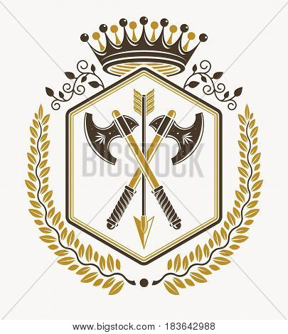 Heraldic sign vector composed using vintage elements like hatchets and imperial crown