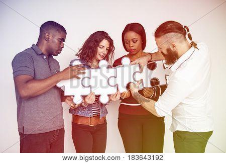 People Jigsaw Puzzle Together Partnership Teamwork