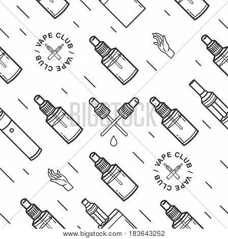 Vape seamless pattern. Contour background with e-cigarettes