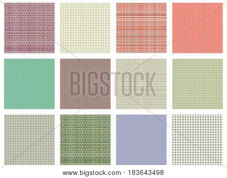 Set Of Vector Seamless Textures. Pastel Different Checkered, Lined Backgrounds In Pastel Colors, Fab