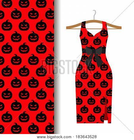 Women dress fabric pattern design on a hanger with halloween pumpkin on red background. Vector illustration