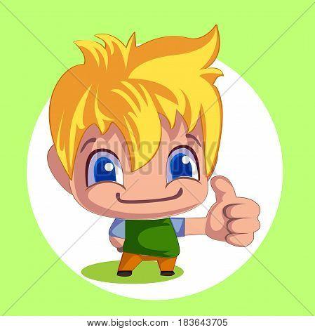 cartoon man thumb up. Emotional card with vector illustration
