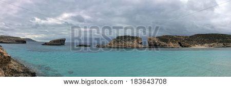 Beutiful blue lagoon Comino island Malta Gozo