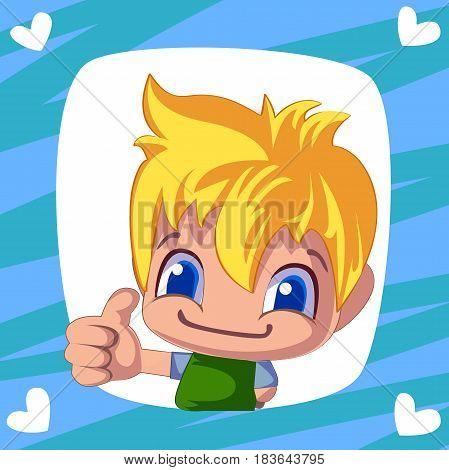 cute boy. cartoon man thumb up. Cheerful illustration for your design