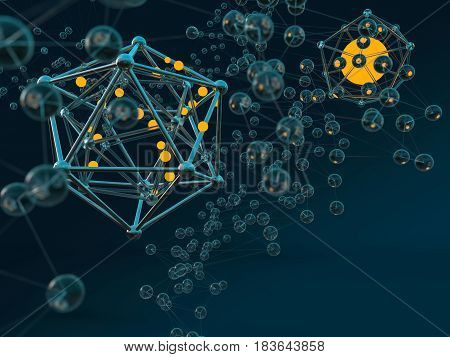 Abstract molecule colorful scifi background. 3D illustration.