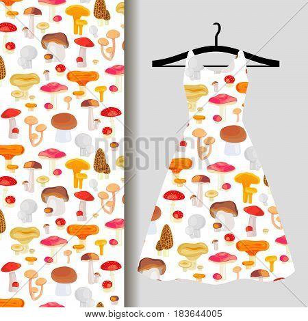 Women dress fabric pattern design on a hanger with mushrooms. Vector illustration