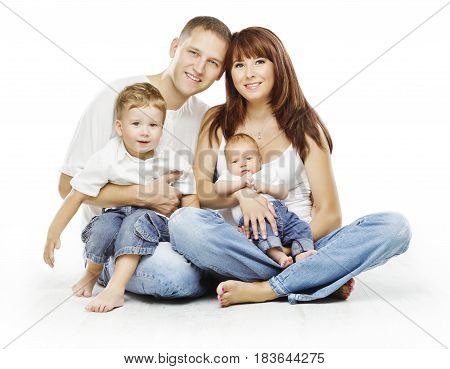Family on White Background People Four Persons Happy Parents sit with Children Isolated over White