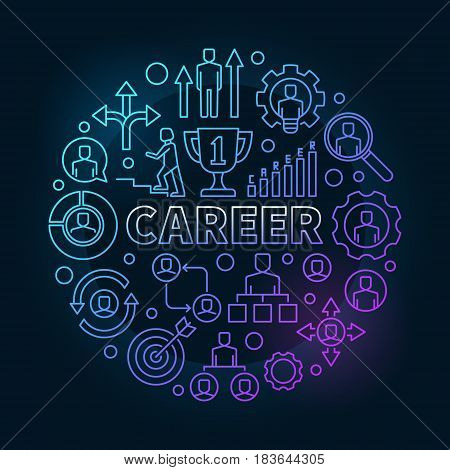 Modern career colorful illustration - vector outline concept symbol made with word CAREER and business icons on dark background
