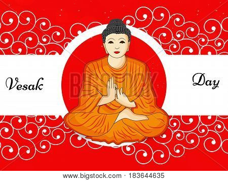 illustration of Lord Buddha with vesak day text