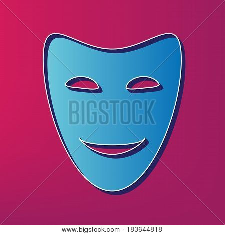Comedy theatrical masks. Vector. Blue 3d printed icon on magenta background.