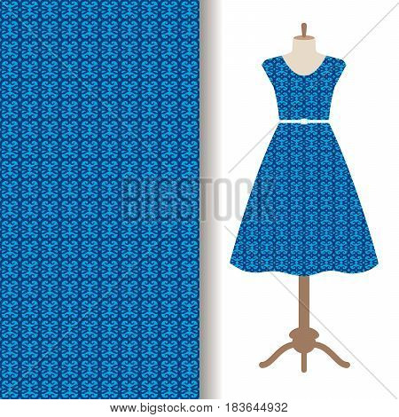 Women dress fabric pattern design with blue traditional arabic pattern. Vector illustration