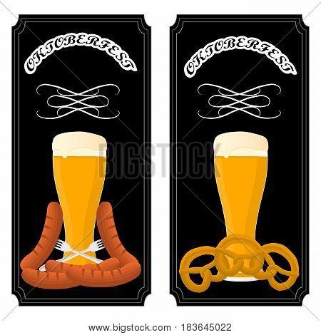 Vector illustration logo for bar banner Oktoberfest pub during the festival beer mug with foam filled to the brim vintage pubs.