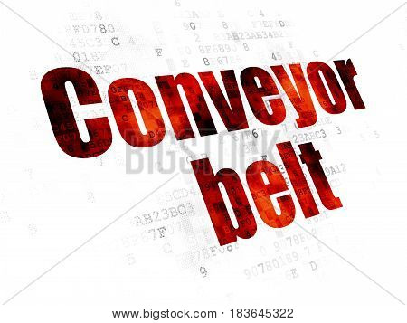 Manufacuring concept: Pixelated red text Conveyor Belt on Digital background
