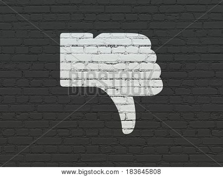 Social media concept: Painted white Thumb Down icon on Black Brick wall background