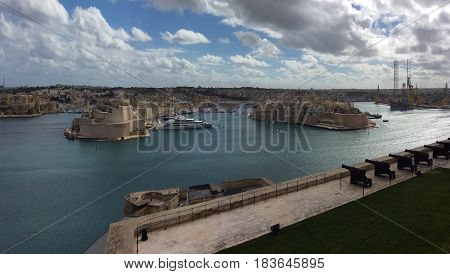 VallettaThe view of the narrow streets of Valletta with the typical maltese balcony Valletta Malta