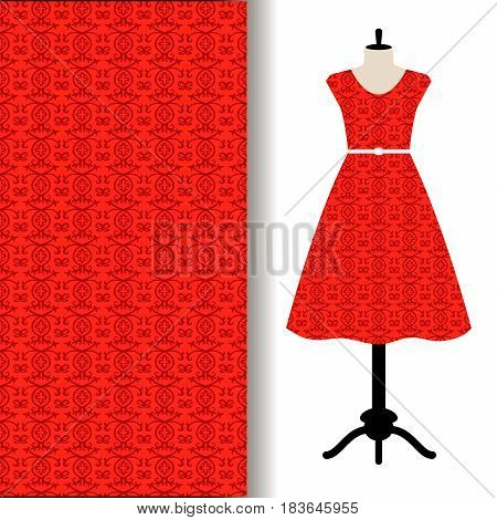 Womens dress fabric pattern design with red traditional arabic pattern, Vector illustration