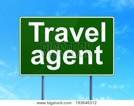 Vacation concept: Travel Agent on green road highway sign, clear blue sky background, 3D rendering