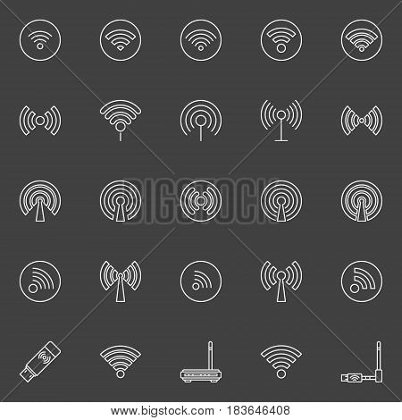 Wifi vector icon. Set of different wi-fi and wireless outline minimal symbols on dark background