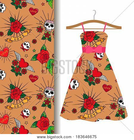Women dress fabric pattern design on a hanger with vintage cute tattoo roses, hearts and skulls. Vector illustration