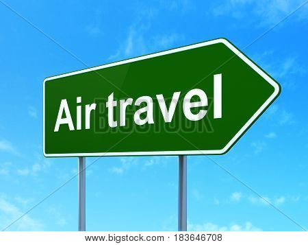 Vacation concept: Air Travel on green road highway sign, clear blue sky background, 3D rendering