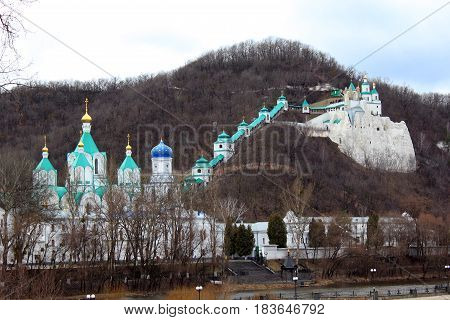 SVYATOGORSK, UKRAINE - APRIL 10, 2011: This is one of the major monastic complexes of the Russian Orthodox Church - Holy Assumption Svyatogorsk Lauvra.