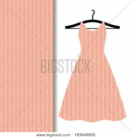 Women dress fabric pattern design on a hanger with geometric pattern of flash tone. Vector illustration