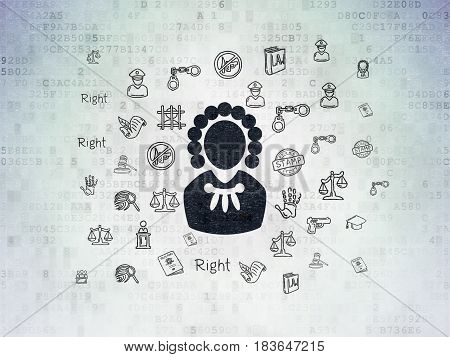 Law concept: Painted black Judge icon on Digital Data Paper background with  Hand Drawn Law Icons