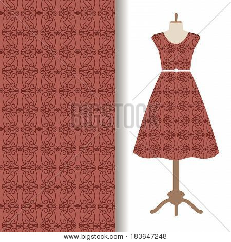 Women dress fabric pattern design on a mannequin with brown pattern. Vector illustration