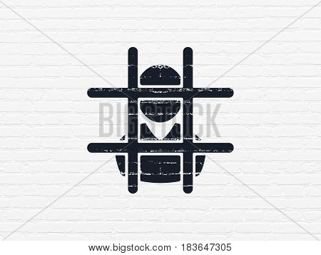 Law concept: Painted black Criminal icon on White Brick wall background